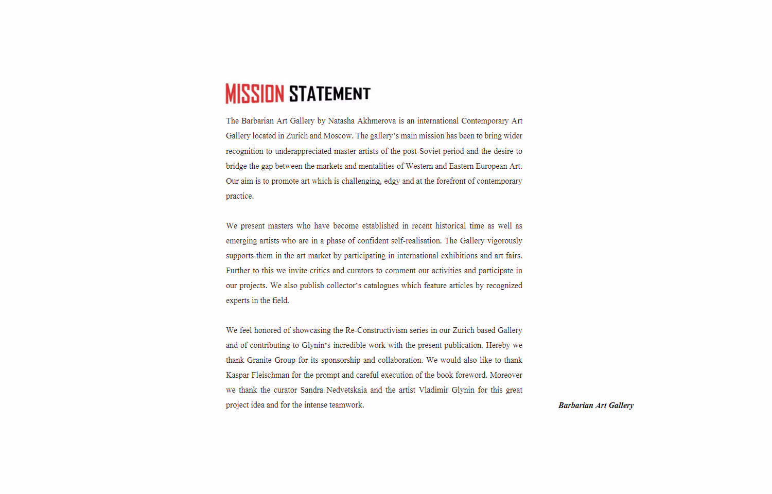 VG mission statement